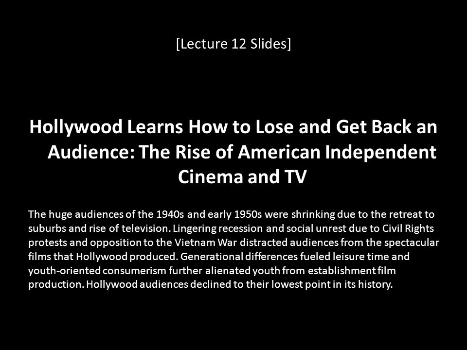 [Lecture 12 Slides] Hollywood Learns How to Lose and Get Back an Audience: The Rise of American Independent Cinema and TV.